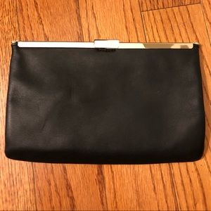 Jcrew Black Leather with Gold metal Clutch